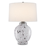 Currey & Company Lighting Bankshire Table Lamp 6000-0443 - White/Purple/Clear/Satin Nickel