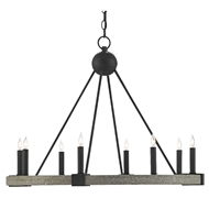 Currey & Company Lighting Burgos Chandelier 9000-0480 - Antique Black/Polished Concrete
