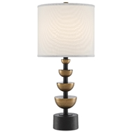 Currey & Company Lighting Chastain Table Lamp 6000-0509 - Antique Brass/Black