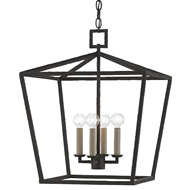 Currey & Company Lighting Denison Black Medium Lantern 9000-0455 - Mol Black