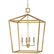 Currey & Company Lighting Denison Gold Large Lantern 9000-0405 - Contemporary Gold Leaf