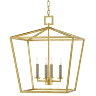 Currey & Company Lighting Denison Gold Medium Lantern 9000-0457 - Contemporary Gold Leaf