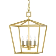 Currey & Company Lighting Denison Gold Small Lantern 9000-0458 - Contemporary Gold Leaf