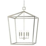 Currey & Company Lighting Denison Silver Grande Lantern 9000-0414 - Contemporary Silver Leaf