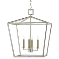Currey & Company Lighting Denison Silver Medium Lantern 9000-0459 - Contemporary Silver Leaf