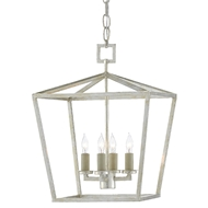 Currey & Company Lighting Denison Silver Small Lantern 9000-0460 - Contemporary Silver Leaf