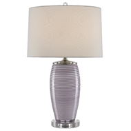 Currey & Company Lighting Eldath Table Lamp 6000-0473 - Purple/White/Clear/Polished Nickel