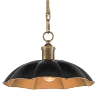 Currey & Company Lighting Elias Pendant 9000-0475 - Black/Antique Brass
