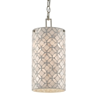 Currey & Company Lighting Ellison Pendant 9000-0490 - Pearl/Antique Silver Leaf
