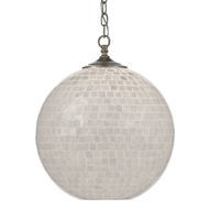 Currey & Company Lighting Finhorn Pendant 9000-0435 - Pearl/Antique Silver Leaf