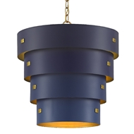 Currey & Company Lighting Graduation Pendant 9000-0500 - Blue/Contemporary Gold Leaf/New Gold Leaf