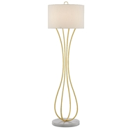 Currey & Company Lighting Hanami Floor Lamp 8000-0065 - Gold Leaf/White
