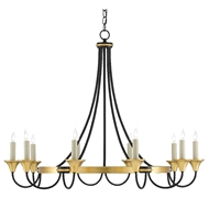 Currey & Company Lighting Hanlon Chandelier 9000-0474 - Washed Black/Contemporary Gold Leaf