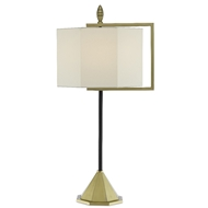 Currey & Company Lighting Hopper Table Lamp 6000-0501 - Brushed Brass/Oil Rubbed Bronze