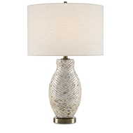 Currey & Company Lighting Imbricate Table Lamp 6000-0474 - Pearl/Antique Brass