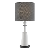 Currey & Company Lighting Kamilah Table Lamp 6000-0439 - White Gesso/Rough Texture Black