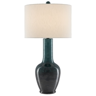Currey & Company Lighting Kelsini Table Lamp 6000-0486 - Teal/Graphite/Satin Black