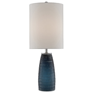 Currey & Company Lighting Leona Table Lamp 6000-0491 - Textured Blue
