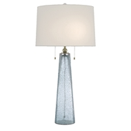 Currey & Company Lighting Looke Table Lamp 6000-0498 - Blue/Brass