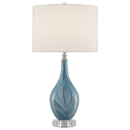 Currey & Company Lighting Lupo Aqua Table Lamp 6000-0497 - Blue/Clear/Polished Nickel