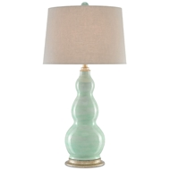 Currey & Company Lighting Omnia Table Lamp 6000-0235 - Light Turquoise/Harlow Silver Leaf