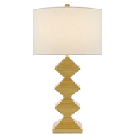 Currey & Company Lighting Pelor Gold Table Lamp 6000-0442 - Contemporary Gold Leaf