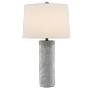 Currey & Company Lighting Perla Table Lamp 6000-0487 - Concrete/White/Satin Black