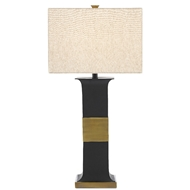 Currey & Company Lighting Petrole Table Lamp 6000-0484 - Black/Antique Brass