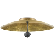 Currey & Company Lighting Pinders Flush Mount 9999-0049 - Contemporary Gold Leaf/French Black
