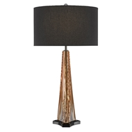 Currey & Company Lighting Raquel Table Lamp 6000-0476 - Amber/Polished Nickel/Black
