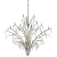 Currey & Company Lighting Raux Chandelier 9000-0508 - Contemporary Silver Leaf/Natural