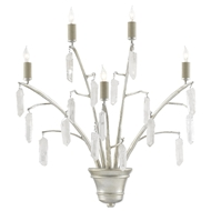 Currey & Company Lighting Raux Wall Sconce 5000-0140 - Contemporary Silver Leaf/Natural
