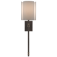 Currey & Company Lighting Rocher Wall Sconce 5000-0119 - Hand Rubbed Bronze/Contemporary Gold Leaf