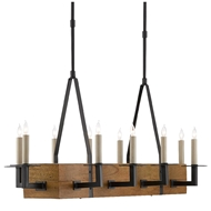 Currey & Company Lighting Saratoga Chandelier 9000-0454 - Satin Black/Natural