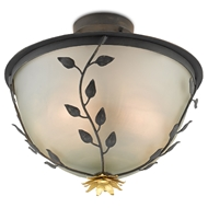 Currey & Company Lighting Sisson Semi-Flush 9000-0516 - French Black/Contemporary Gold Leaf