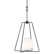 Currey & Company Lighting Stansell Pendant 9000-0451 - Antique Bronze/White