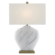 Currey & Company Lighting Swainely Table Lamp 6000-0463 - White/Gray/Antique Brass