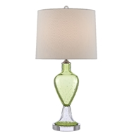 Currey & Company Lighting Tessa Table Lamp 6000-0470 - Grass Green/Clear/Polished Nickel