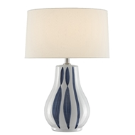 Currey & Company Lighting Trace Table Lamp 6000-0460 - White/Blue