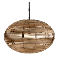 Currey & Company Lighting Vanadis Pendant 9000-0463 - Satin Black/Natural