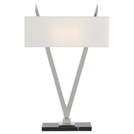 Currey & Company Lighting Willemstad Nickel Table Lamp 6000-0452 - Polished Nickel/Black