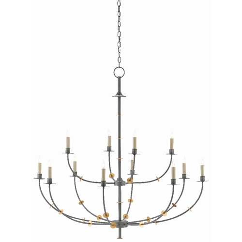 Currey & Company Lighting Balladier Chandelier 9000-0331 - Wrought Iron