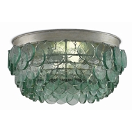 Currey & Company Lighting Braithwell Flush Mount 9999-0013 - Wrought Iron Recycle Glass