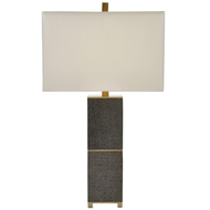 Currey & Company Lighting Beauchamp Table Lamp 6000-0040 - Wood Leather Brass