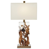 Currey & Company Lighting Durban Table Lamp 6000-0030 - Acrylic Wood Metal
