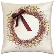 Eastern Accents Holly Wreath Pillows in Lucerne Ivory 52% Cotton, 48% Rayon