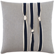 Eastern Accents Navy Knots Pillows in Greer Linen 87% Cotton, 13% Rayon