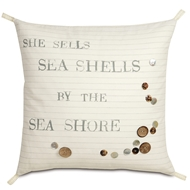 Eastern Accents Shells By The Shore Pillows in Adler Natural 100% Cotton