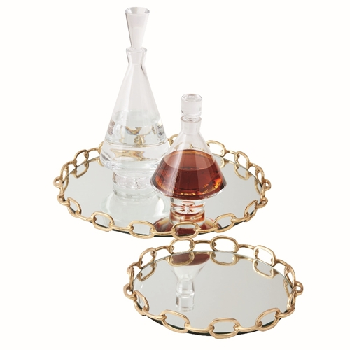 Global Views Brass Linked Chain Mirrored Tray 9.9226