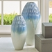 Global Views Cloud Blue Cut Carved Ceramic Vase 1.1057